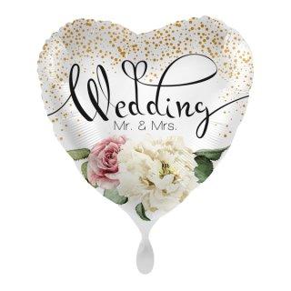 Luftballon Wedding Mr & Mrs Blumen Folie ø43cm