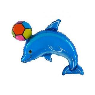 Luftballon Delfin Blau mit Ball Folie 117cm