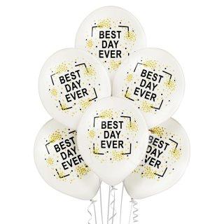 6 Luftballons Best Day Ever Metallic ø30cm