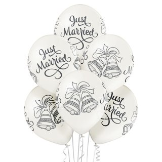 6 Luftballons Just Married Glocken Metallic ø30cm