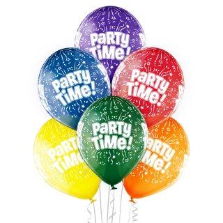 6 Luftballons Party Time! Kristall ø30cm