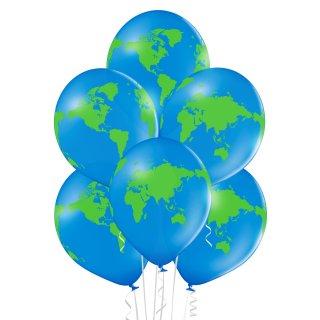 6 Luftballons Weltkugel Standard ø30cm