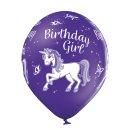 6 Luftballons Happy Birthday Einhorn Bunt ø30cm