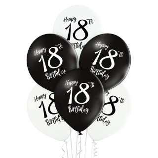 6 Luftballons Zahl 18 Happy Birthday Schwarz-Weiß ø30cm
