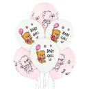 6 Luftballons Bärchen Baby Girl Rosa ø30cm
