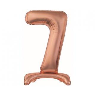 Luftballon Zahl 7 stehend Rosegold Folie ca 74cm