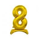 Luftballon Zahl 8 stehend Gold Folie ca 74cm