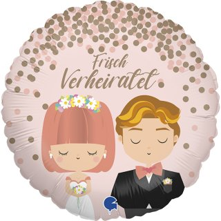Luftballon Braut und Bräutigam Frisch Verheiratet Folie ø46cm