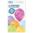 6 Luftballons Zahl 2 Bunt ø30cm