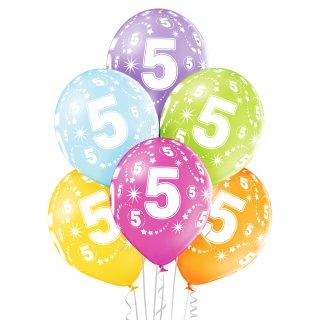 6 Luftballons Zahl 5 MIX ø30cm ungefüllt