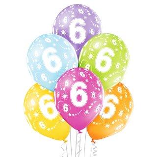 6 Luftballons Zahl 6 MIX ø28 cm ungefüllt