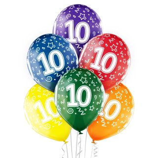 6 Luftballons Zahl 10 Mix ø30cm