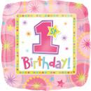 Luftballon Zahl 1 Birthday Rosa Quadrat Folie ø45cm