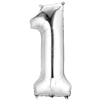 Luftballon Zahl 1 Silber Folie ca 86cm