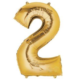 Luftballon Zahl 2 Gold Folie ca 86cm