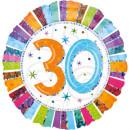 Luftballon Zahl 30 Prismatic glänzend Bunt Folie...