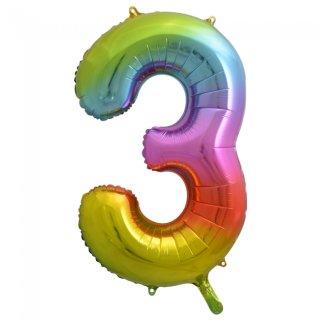 Luftballon Zahl 3 Regenbogen Folie ca 86cm