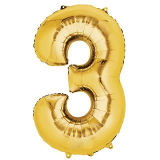 Luftballon Zahl 3 Gold Folie ca 86cm