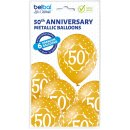 6 Luftballons Zahl 50 gold ø30cm ungefüllt
