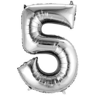Folienballon Zahl 5 silber ca 86 cm ungefüllt