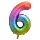 Luftballon Zahl 6 Regenbogen Folie ca 86cm