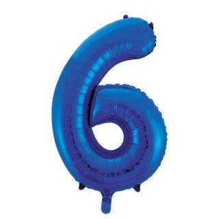 Luftballon Zahl 6 Blau Folie ca 86cm