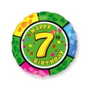 Folienballon Zahl 7 Happy Birthday bunt ø45 cm unverpackt...