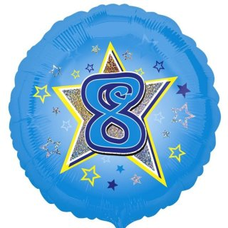 Luftballon Zahl 8 Blau prismatic Folie ø45cm