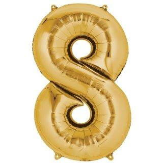 Folienballon Zahl 8 gold ca 86 cm ungefüllt