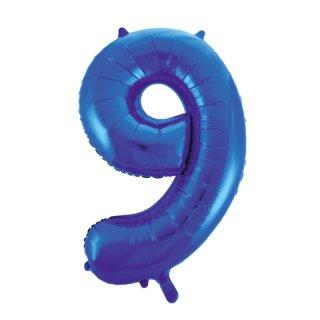 Luftballon Zahl 9 Blau Folie ca 86cm