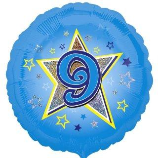 Folienballon Zahl 9 blau prismatic ø45 cm ungefüllt