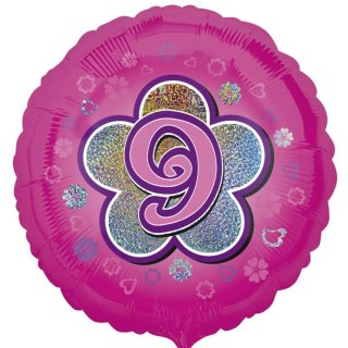 Luftballon Zahl 9 Pink prismatic Folie ø45cm