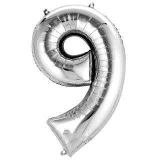 Luftballon Zahl 9 Silber Folie ca 86cm