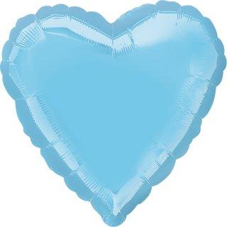 Herzballon Blau-Hellblau Folie ø45cm