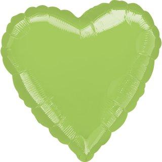Herzballon Grün-Limonengrün Folie ø45cm