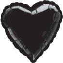 Herzballon Schwarz Folie ø45cm