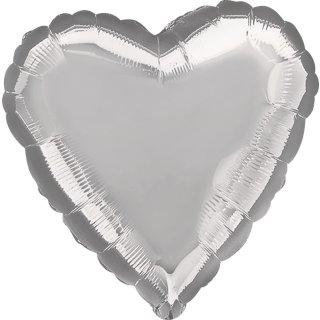 Herzballon Silber Folie ø45cm