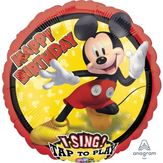 Singender Luftballon Happy Birthday Mickey Maus Folie ø71cm