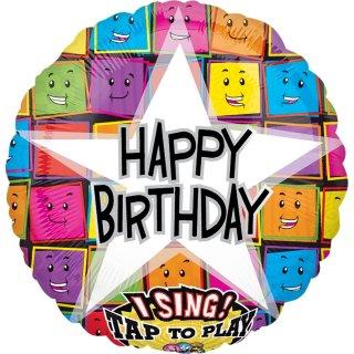 Singender Luftballon Happy Birthday Smiles Folie ø71cm