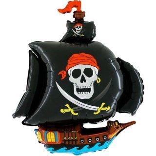 Luftballon Piratenschiff Schwarz Folie 103cm