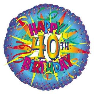 Luftballon Zahl 40 Happy Birthday Blau Folie ø45cm