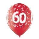 6 Luftballons Zahl 60 Bunt ø30cm