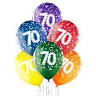 6 Luftballons Zahl 70 Bunt ø30cm