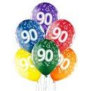 6 Luftballons Zahl 90 Bunt ø30cm