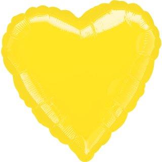 Herzballon Gelb Folie ø45cm